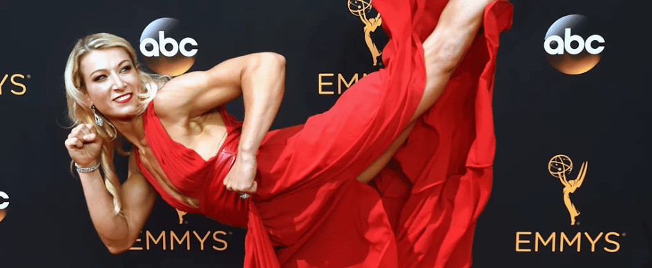 Jessie Graff shows how a warrior woman attacks the Emmys red carpet